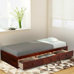 Twin Size Platform Storage Bed Frame with 3 Drawers