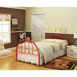 Twin Size Red Platform Metal Bed Frame Head & Footboard - NO