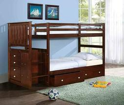 Twin/Twin or Full Stairway Bunk Bed - Donco Kids - Wood -  w