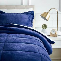 Ultra-Soft Micromink Sherpa Comforter Bed Set - Twin, Navy B