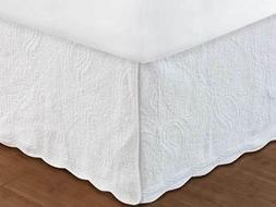 WHITE QUILTED Twin Full Queen King BEDSKIRT : COTTAGE PAISLE