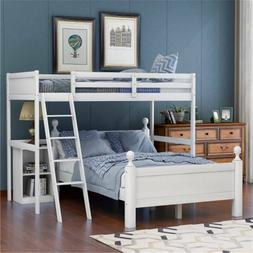 White Twin Over Full Bunk Bed Wood, Loft Bed W/Cabinet, W/La