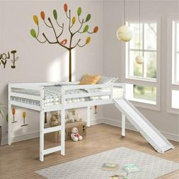 Wood Twin Bed Frame Kids Teens Bund Loft Bed w/Ladder Run Be