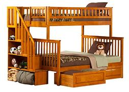 Woodland Staircase Bunk Bed with Urban Bed Drawers, Antique
