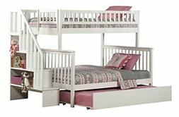 Woodland Staircase Bunk Bed with Urban Trundle, White, Twin